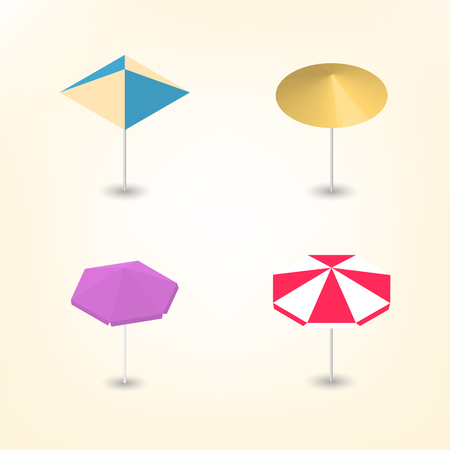 Set of colorful beach umbrellas of various shapes, isolated on a white background. Leisure icon. Flat 3d isometric style, vector illustration.
