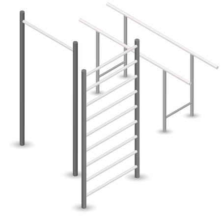 Steel bar for pull-ups, isolated on white background. Element of design of sports equipment and playground. 3d isometric style, vector illustration.