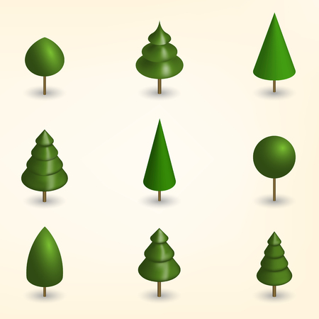 Green trees of various shapes isolated on white background. Elements for the design of the park, forest and garden. 3D isometric style, vector illustration. Illustration