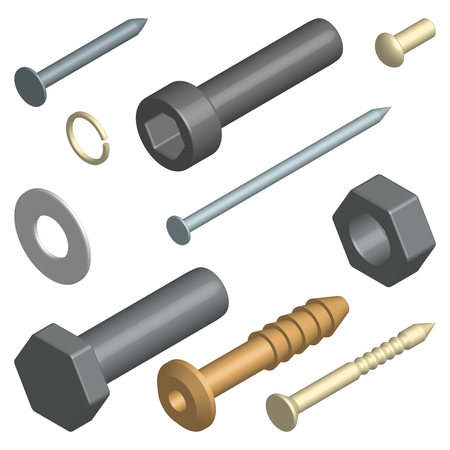 metal fastener: Set of different screws and bolts 3D isometric style, vector illustration. Illustration