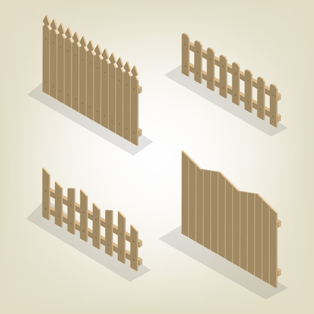 Set of spans wooden fences of various forms. Isolated on white background. Elements of buildings and landscape design. Illustration