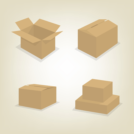 Set of cardboard box icons isolated on white background. Flat style, vector illustration. Illustration