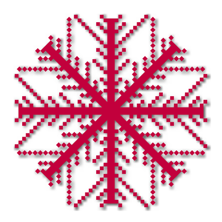 pixelated: Pixel snowflake, isolated on a white background. Graphic material and design elements to decorate Christmas cards and posters. Flat style, vector illustration.