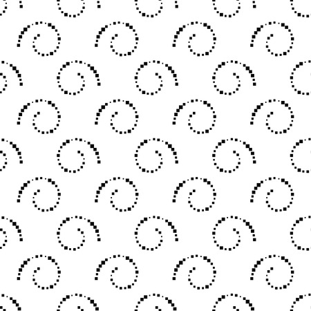 Abstract black and white seamless background with dotted spirals, repeating texture with halftone effect, vector illustration.