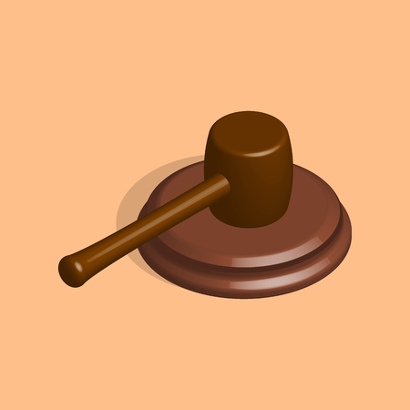 Gavel icon, isolated wooden hammer of judge and stand. 3D isometric style, vector illustration. Illustration