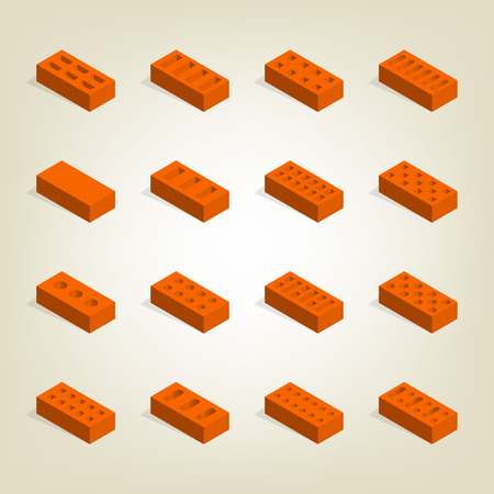 Set of bricks of different shapes, top view. Elements of the design of building materials. Flat 3d isometric style, vector illustration. Illustration