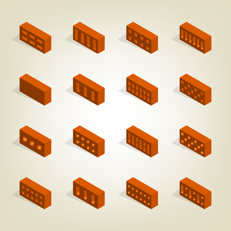 Set of bricks of various shapes, view to the left. Elements of the design of building materials. Flat 3d isometric style, vector illustration.