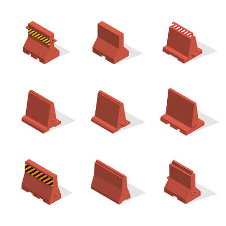 Set of plastic road barriers with a markup, isolated on white background. Flat 3D isometric style, vector illustration.