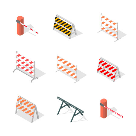 Set of different road traffic barriers, isolated on a white background. Under construction design elements. Flat 3D isometric style, vector illustration.