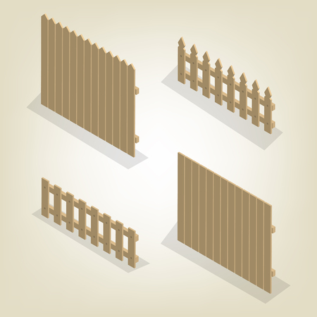 Set of spans wooden fences of various forms. Isolated on white background. Elements of buildings and landscape design. Flat 3D isometric style, vector illustration. Stock Illustratie