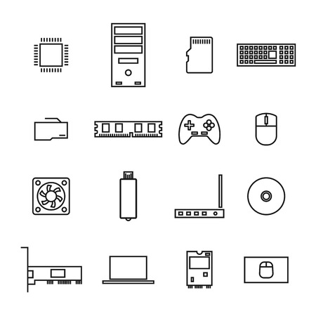 Set of icons computer devices and accessories of thin lines, isolated on white background, vector illustration. Иллюстрация