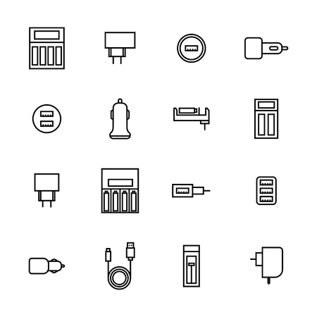 Icons of chargers from thin lines isolated on white background, vector illustration.