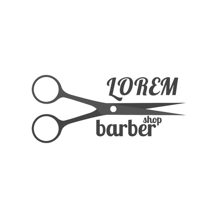 Grey emblem, logo, label for a barber shop, isolated on a white background.