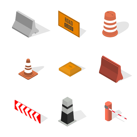 Set of different signs road repairs, isolated on white background. Under construction design elements. Flat 3D isometric style, vector illustration. Vettoriali
