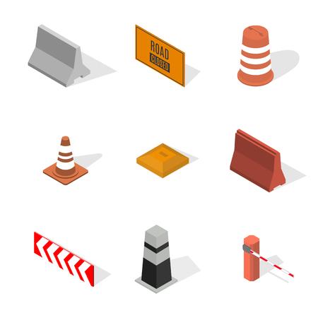 Set van verschillende tekens weg reparaties, geïsoleerd op een witte achtergrond. In aanbouw ontwerpelementen. Platte 3D isometrische stijl, vectorillustratie. Vector Illustratie