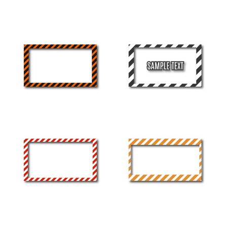 Set of different frames with slanted black and yellow stripes, isolated on white background. Rectangular warning sign, vector illustration.