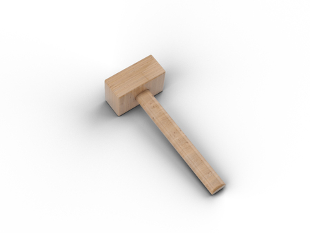 Wooden hammer isolated on white background. Element of the design of the working tool, 3D render.