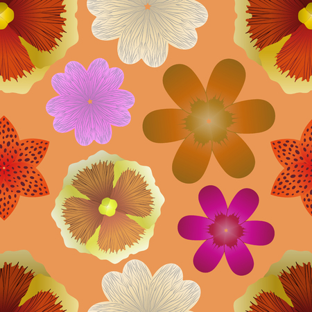 Abstract floral background. Seamless pattern of various flower bud, vector illustration.