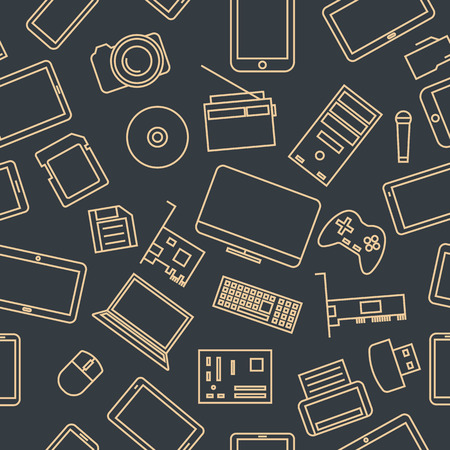 Seamless pattern from a set of computer and gadget icons of thin lines, vector illustration. Ilustracje wektorowe