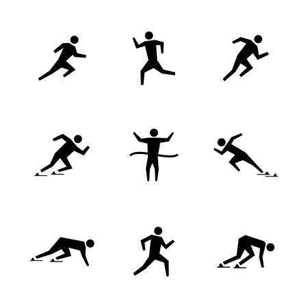Set of stick figures. Black silhouettes of runners on a white background in various poses and positions. Flat icons people, vector illustration. Stock Vector - 114863274