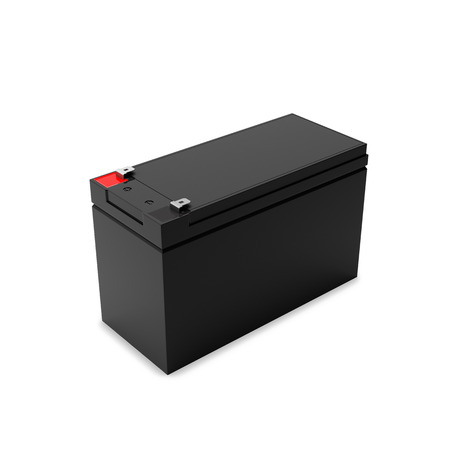 Rechargeable battery for uninterruptible power supply, halfside view. Isolated on white background, 3D render.