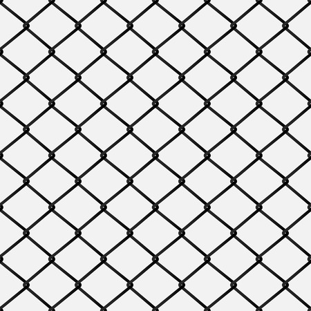 Seamless metal mesh. Wire fence isolated on the white background, vector illustration. Ilustração
