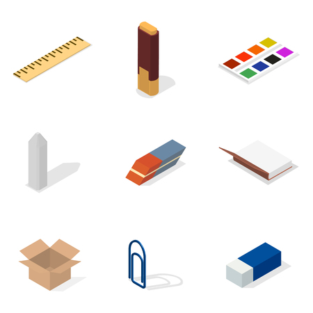 Set van pictogrammen geïsoleerd op een witte achtergrond, kantoor en school. Platte 3d isometrische stijl, vector illustratie. Vector Illustratie