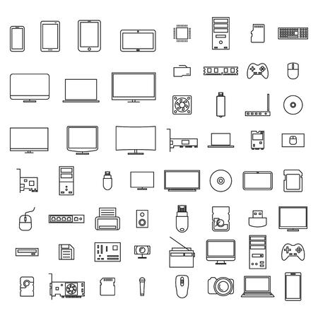 Ensemble d'icônes appareils informatiques et accessoires de lignes fines, isolés sur fond blanc, illustration vectorielle. Vecteurs