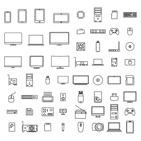 Set of icons computer devices and accessories of thin lines, isolated on white background, vector illustration.