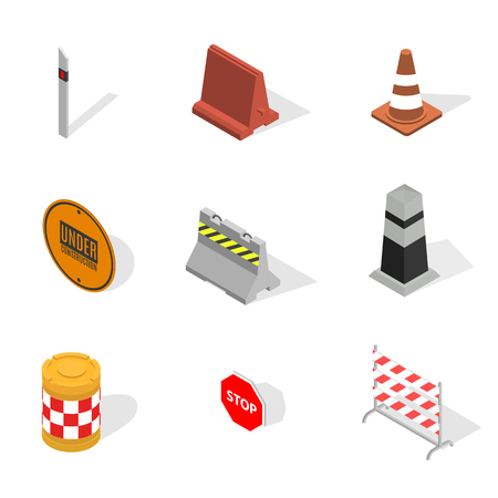 Set of different signs road repairs, isolated on white background. Under construction design elements. Flat 3D isometric style, vector illustration.