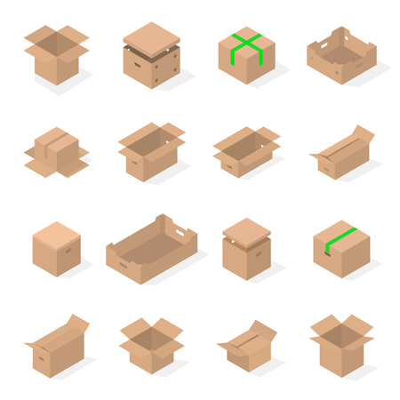 Set of different cardboard boxes isolated on white background. Packaging design elements. Flat 3D isometric style, vector illustration.
