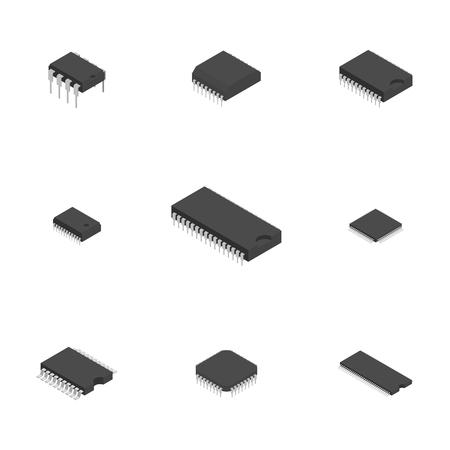 Satz von verschiedenen aktiven und passiven elektronischen Bauteilen lokalisiert auf weißem Hintergrund. Flacher isometrischer 3D-Stil, Vektorillustration.