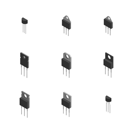 Set of different active and passive electronic components isolated on white background. Flat 3D isometric style, vector illustration.