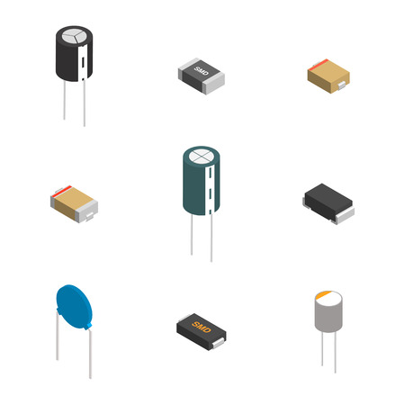 Set of different active and passive electronic components isolated on white background. Flat 3D isometric style, vector illustration. Ilustração Vetorial