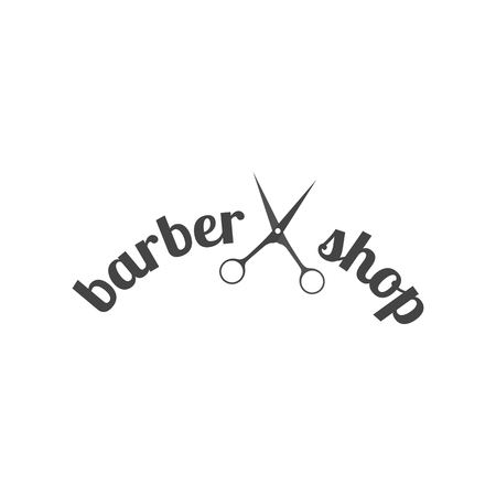 Grey emblem, logo, label for a barber shop, isolated on a white background. Vintage flat style, vector illustration.