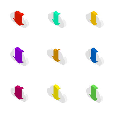 Icons clouds with an arrows different shapes. Flat 3D isometric style, vector illustration.