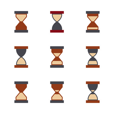 Hourglass icon set isolated on white background. Flat style, vector illustration.
