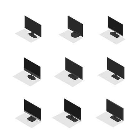 Set of various computer monitors, isolated on white background. Element design of digital devices. Flat 3d isometric style, vector illustration. Banco de Imagens - 126448123