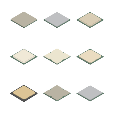 Set of processors of different shapes isolated on white background. Elements design of electronic components. Flat 3D isometric style, vector illustration. Banco de Imagens - 126448124