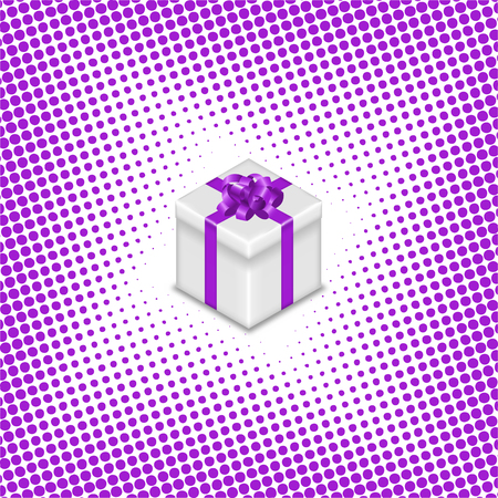 Gift box with ribbon and bow on halftone background, vector illustration. Banco de Imagens - 126239477
