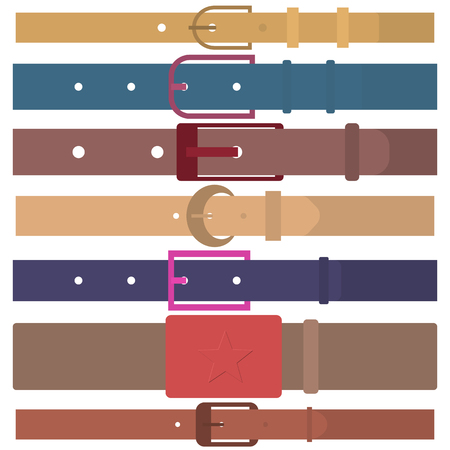 Set of different colored belts isolated on white background. Male, female, leather and army. Element of clothing design. Flat style, vector illustration. Ilustração