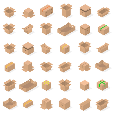 Set of different cardboard boxes isolated on white background. Packaging design elements. Flat 3D isometric style, vector illustration. Banco de Imagens - 126239479