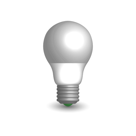 Photo realistic LED and energy-saving light bulb. Element for the design of electrical components. 3D style, vector illustration.