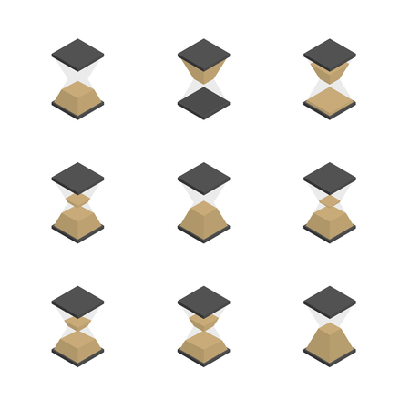Hourglass icons set isolated on white background. 3D isometric style, vector illustration. Banco de Imagens - 125875497