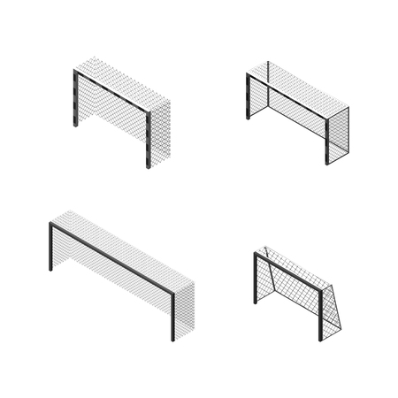 Black and white gate of different size and shapes for playing soccer, isolated on white background. Design of sports equipment elements. Flat 3d isometric style, vector illustration. Banco de Imagens - 125875500