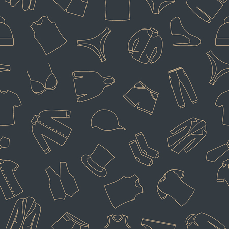 Seamless pattern from a set of clothes icons of thin lines, vector illustration.