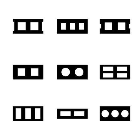 Set icons cinder blocks, black silhouettes on a white background. Flat style, vector illustration. Illustration