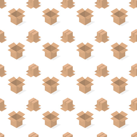 Seamless background from a set of 3D cardboard boxes, vector illustration. Illustration