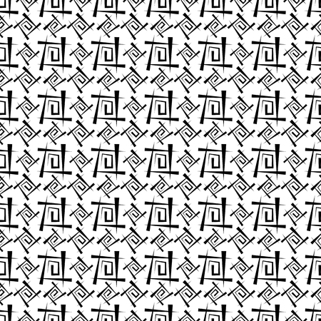 Black and white abstract background. Seamless texture from a set of lines and spirals, vector illustration. Illustration