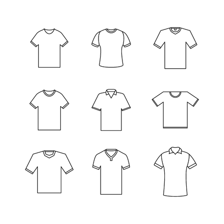 Set of different t-shirts from thin lines isolated on white background. Design element outerwear and article of clothing, vector illustration. Banco de Imagens - 124991611